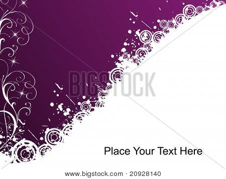 purple greeting card, vector illustration