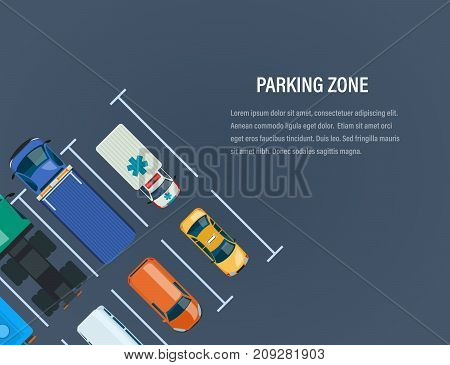 City car parking zone concept. Top view of the parking lot, space. Different types cars and urban transportation, auto park car on the city street. Vector illustration.