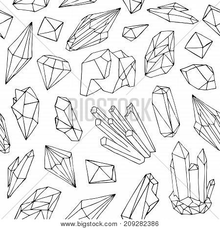 Monochrome seamless pattern with beautiful faceted gemstones, mineral crystals, precious natural stones hand drawn with black contour lines on white background. Vector illustration for textile print