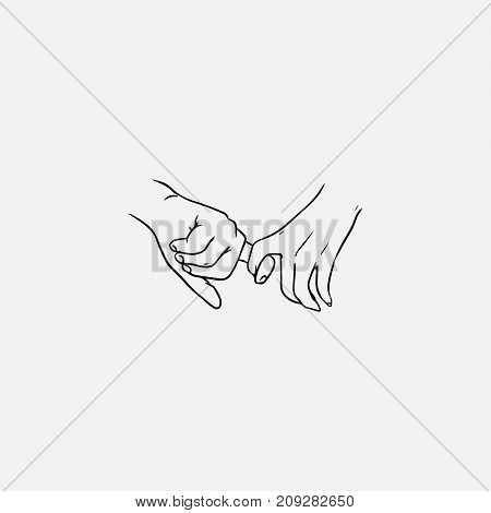 Holding hands hand drawn with contour lines in monochrome colors. Drawing of one-finger handhold isolated on white background. Symbol of love, dating, intimacy and romance. Vector illustration