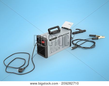 Inverter Welding Machine With Cable For Welding Electrodes With A Blue Rear 3D Render On A Blue Back