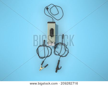 Inverter Welding Machine With Cable For Welding Electrodes With A Green Top 3D Render On A Blue Back
