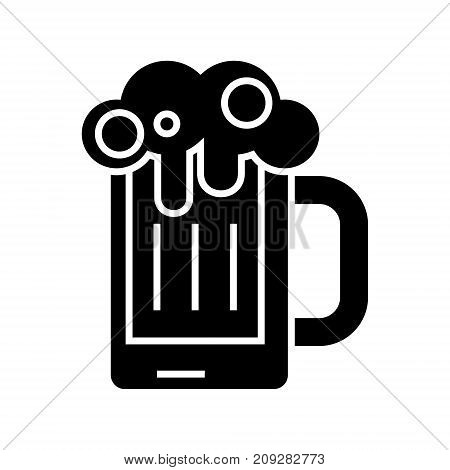 beer glass icon, illustration, vector sign on isolated background