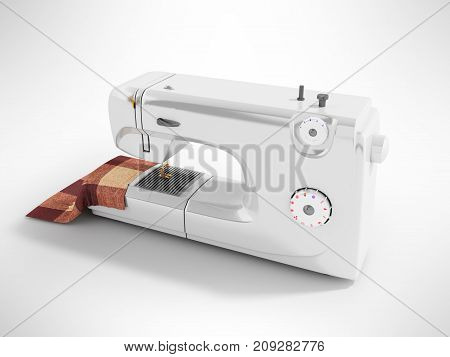 Modern Sewing Machine With Material For Seamstresses White Perspective 3D Render On A Gray Backgroun