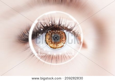 Close up of human eye with virtual graphic background