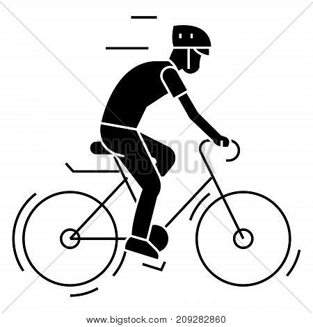 bicycling - bycicle man icon, illustration, vector sign on isolated background