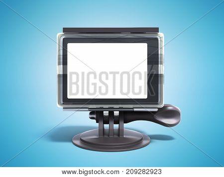 Camera Action Cam 3D Render On A Blue Background
