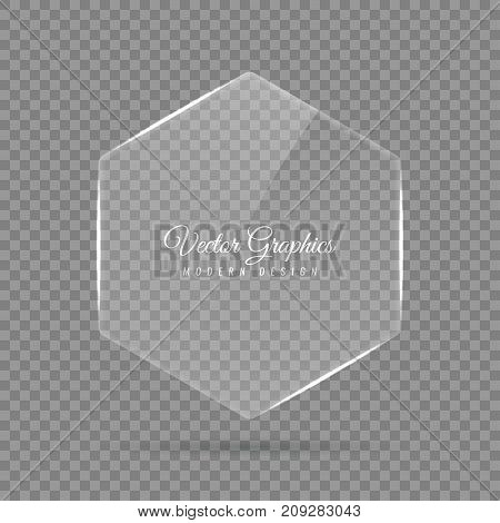 Glass banner of a hexagonal shape. Transparent billboard with highlights. Vector illustration.
