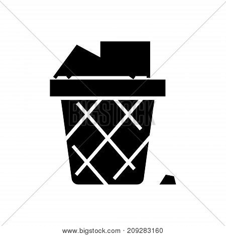 bin paper - office garbage icon, illustration, vector sign on isolated background