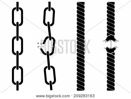 Silhouettes of chains and ropes. A tearing chain. Destruction