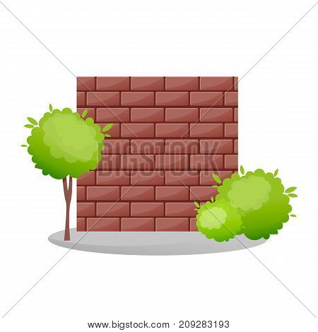 Decorative stone fences. Exterior, appearance, design of gates, landscape. Lawn next to fence, green trees, landscape. Outdoor fence architecture elements. Vector illustration