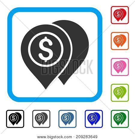 Bank Map Pointers icon. Flat grey pictogram symbol in a light blue rounded rectangular frame. Black, gray, green, blue, red, orange color versions of Bank Map Pointers vector.