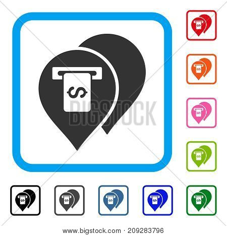 Banking Machine Pointers icon. Flat gray iconic symbol in a light blue rounded square. Black, gray, green, blue, red, orange color additional versions of Banking Machine Pointers vector.