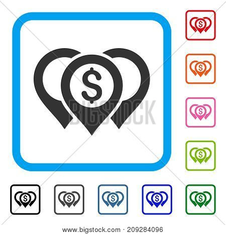 Dollar Map Pointers icon. Flat gray pictogram symbol in a light blue rounded rectangle. Black, gray, green, blue, red, orange color additional versions of Dollar Map Pointers vector.