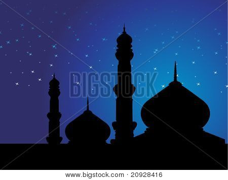 wallpaper of mosques in over bright night sky
