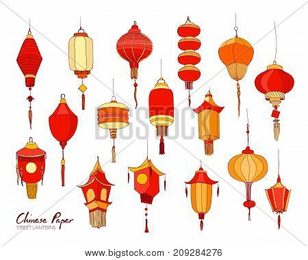 Collection of hand drawn Chinese red paper street lanterns of various shapes and sizes isolated on white background. Set of beautiful traditional asian festival decorations. Vector illustration