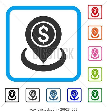 Money Location icon. Flat gray pictogram symbol inside a light blue rounded rectangular frame. Black, gray, green, blue, red, orange color versions of Money Location vector.