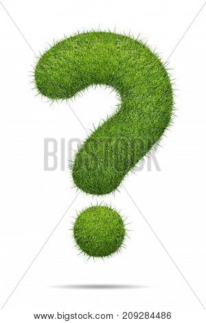 3d illustration of Question sign shape of green grass isolated on white background