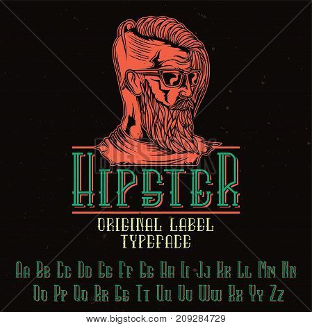 Original label typeface named 'Hipster'. Good to use in any label design.