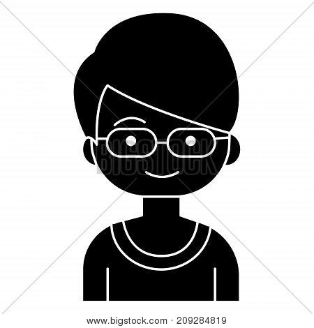 boy geek with glasses icon, illustration, vector sign on isolated background