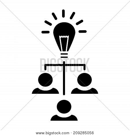 brainstorm generation - lamp with users icon, illustration, vector sign on isolated background
