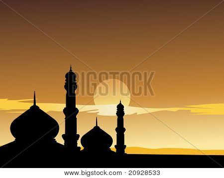 silhouette of mosques in the moon light, illustration