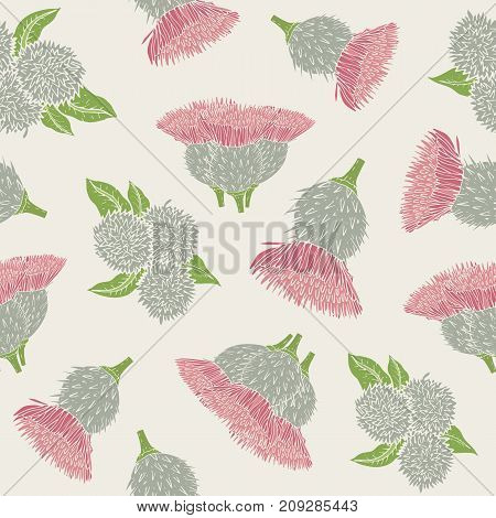 Botanical seamless pattern with burdock prickly heads or burs and leaves. Beautiful inflorescences of wild plant on light background. Natural vector illustration for textile print, wallpaper