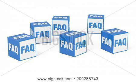 FAQ ask information concept with cubes for question and answer help service (3D Rendering)