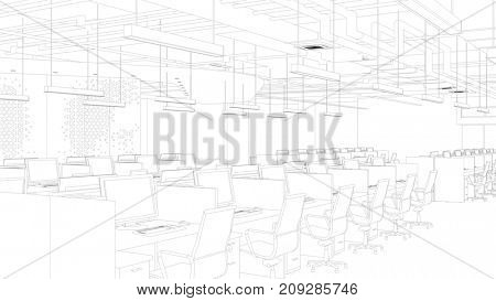 Call center office sketch or CAD draft for planning development (3D Rendering)
