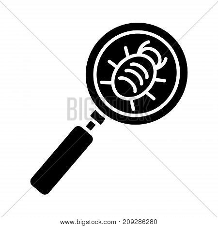 bug searching icon, illustration, vector sign on isolated background
