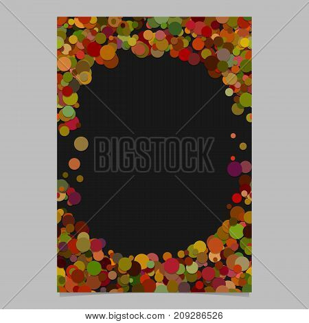 Geometrical chaotic dot pattern brochure background template - trendy vector blank flyer border design from autumn color circles