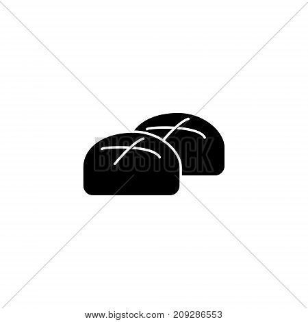 buns roll baked bread icon, illustration, vector sign on isolated background