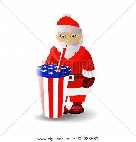Santa Claus And Carbonated Drink. Santa