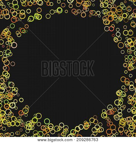 Modern random circle background - trendy vector graphic design from yellow rings with blank space in the center