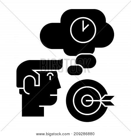 business idea - brainstorm - target goal, lamp, time, thinking icon, illustration, vector sign on isolated background