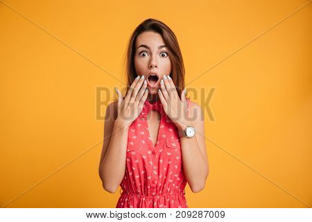Portrait of beautiful shocked emotionally woman looking at camera with opened mouth, touching face by hands and screaming, isolated on yellow background