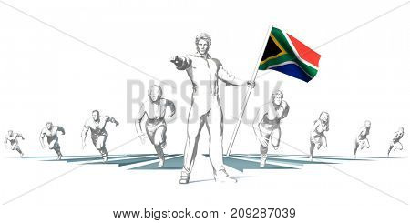 South Africa Racing to the Future with Man Holding Flag 3D Render