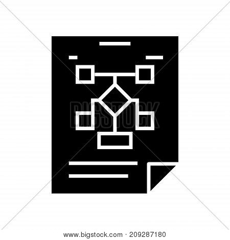 business organization - flow chart icon, illustration, vector sign on isolated background