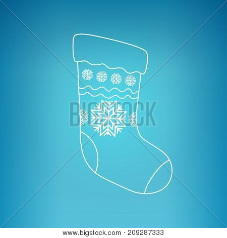 Christmas Sock Decorated Snowflakes on a Blue Background Christmas Decorations Drawing in Linear Style