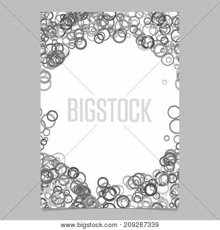 Abstract random circle design flyer background template - trendy vector blank brochure border graphic design from rings