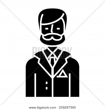 businessman - business lawyer - law - legal adviser icon, illustration, vector sign on isolated background