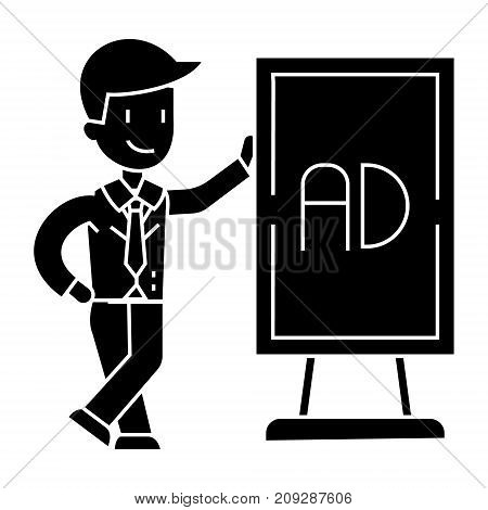 businessman leaning man stand icon, illustration, vector sign on isolated background