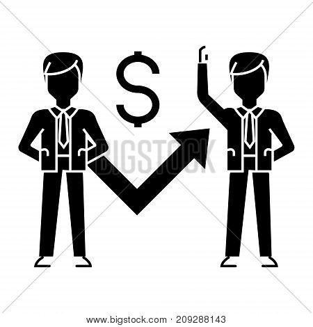 businessmen growth up graph icon, illustration, vector sign on isolated background