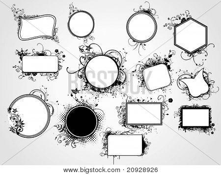 set of distinct shape artistic floral frame, vector illustration
