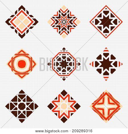Mosaic arabic ornaments set. Vector rhombus emblems for luxury logos and retro ornamental design.