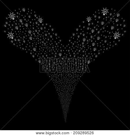 Light Bulb fireworks stream. Vector illustration style is flat white iconic light bulb symbols on a black background. Object fountain made from random pictograms.