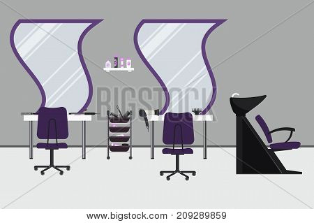 Interior of a hairdressing salon in a purple color. Beauty salon. There are tables, chairs, a bath for washing the hair, mirrors, hair dryer, combs and other objects in the picture. Vector image.