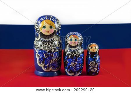 Russian Matryoshka nesting dolls on the Russian flag