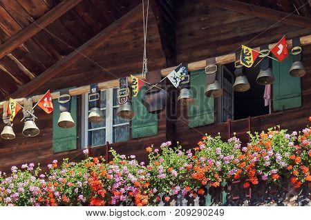 Traditional Swiss cowbells in Jungfrau region. Switzerland.