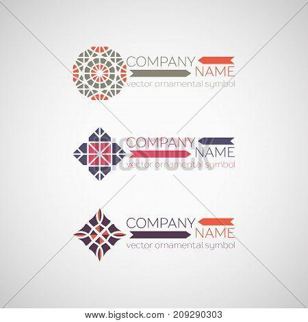 Ornamental logo template design. Vector geometric symbol